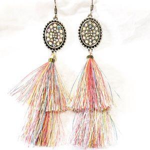 Tassel rhinestone earrings